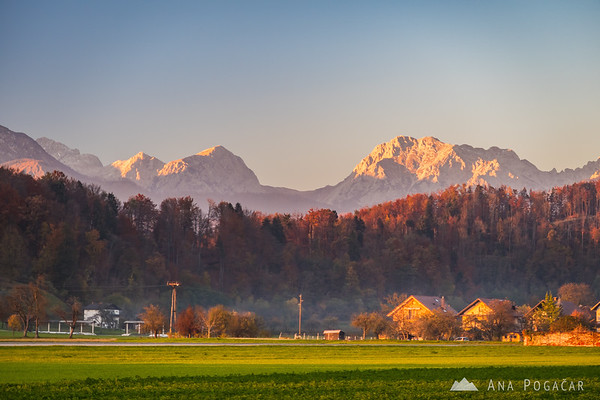 The Kamnik Alps (Brana and Planjava) from the fields between Kamnik and Podgorje