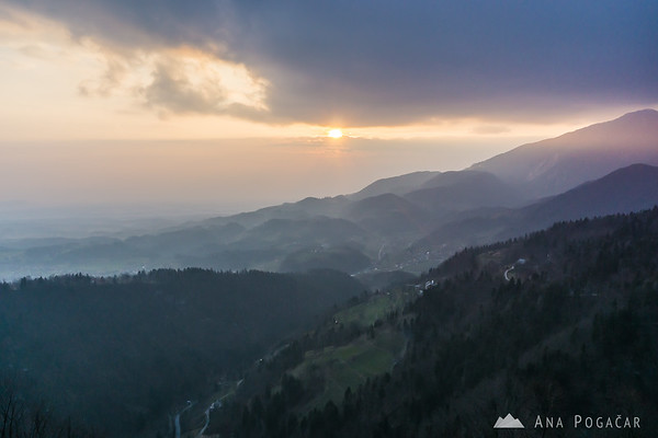 Looking back into the valley and the sunset from St. Primus church