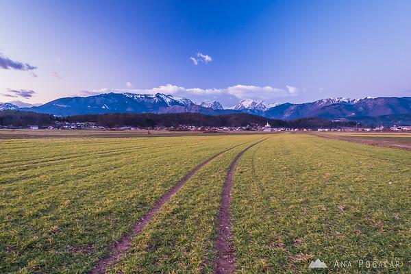 A short walk on the fields near Kamnik at sunset