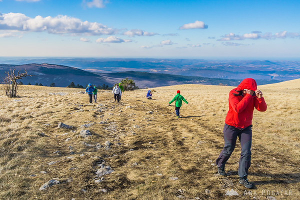 Hiking to the top of Mt. Slavnik on a windy March day