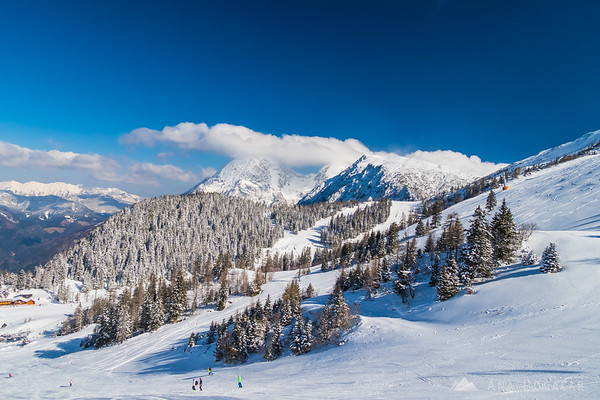 Winter fairytale on the ski slopes of Krvavec on a sunny late-March day