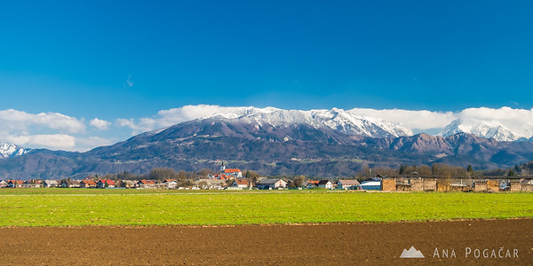 The Kamnik Alps and the Krvavec slopes under fresh snow