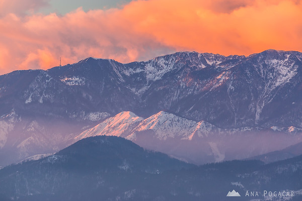 Fiery sunset from Rakitovec - looking towards Krvavec and Kamniški vrh