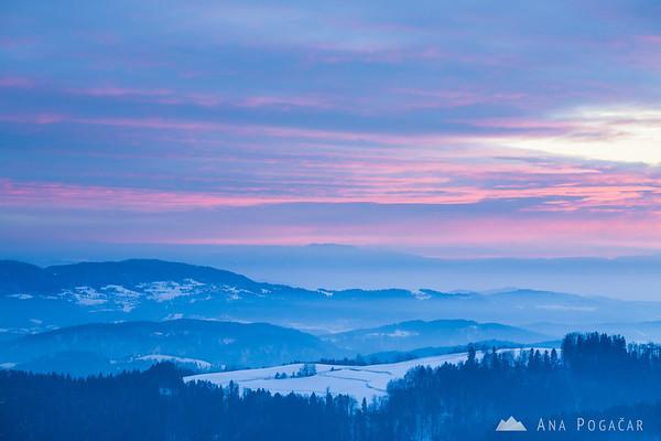 Winter sunset from Rakitovec