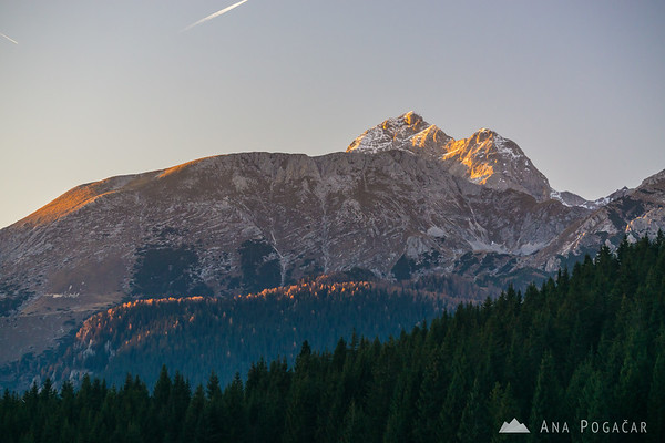 Mt. Triglav from Zajamniki on the Pokljuka plateau, at sunset