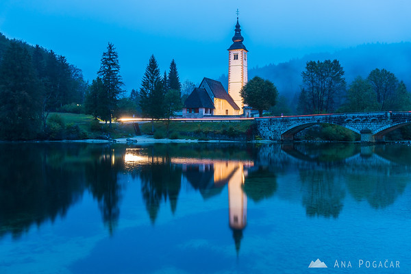 Lake Bohinj at dusk