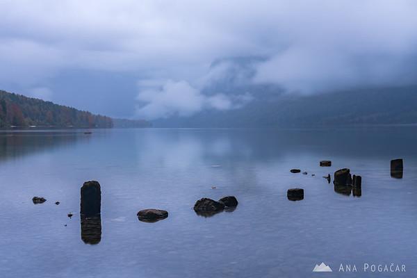 Lake Bohinj on a moody, cloudy fall afternoon
