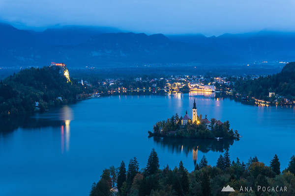 Views of Lake Bled from Ojstrica hill on a cloudy morning