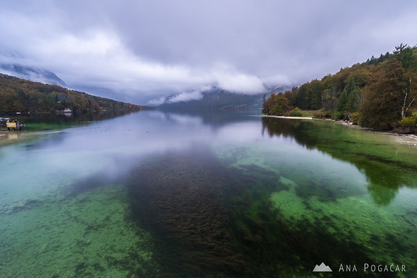 Lake Bohinj on a moody, cloudy fall afternoon
