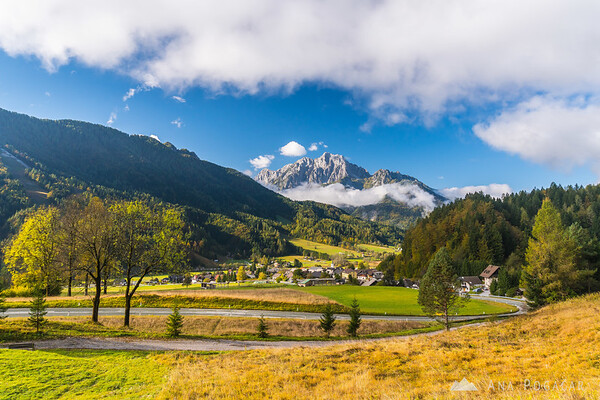 Podkoren and Mt. Velika Ponca on a sunny fall morning