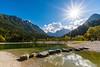 Lake Jasna near Kranjska Gora on a sunny fall day