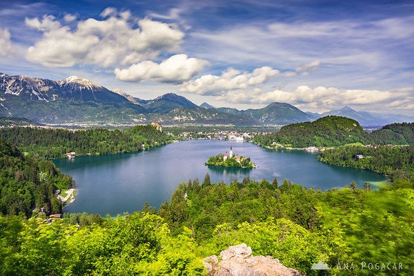 View over Lake Bled from Ojstrica hill: a 30-second exposure
