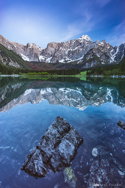 Dusk at Mangart Lakes (Belopeška jezera) in Italy