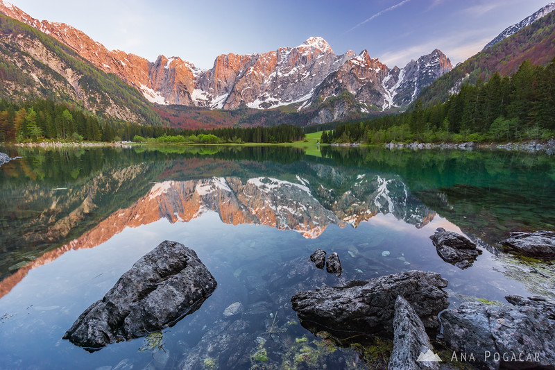 Sunset at Mangart Lakes (Belopeška jezera) in Italy