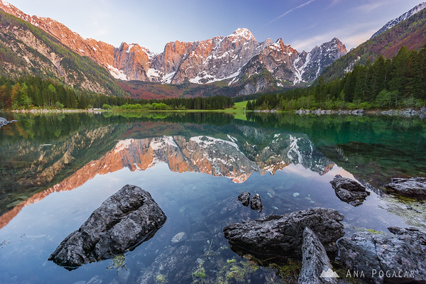 Sunset at Mangart Lakes (Belopeška jezera) in Italy