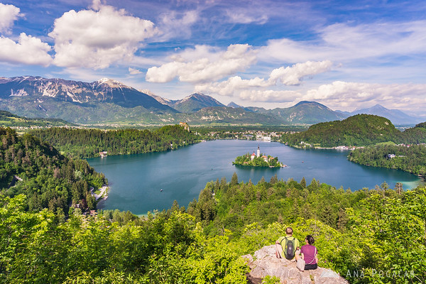 View of Lake Bled from Ojstrica hill: