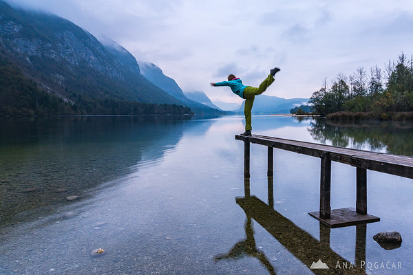 Ana and Lake Bohinj from Ukanc on a cloudy morning