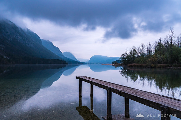 Lake Bohinj from Ukanc on a cloudy morning