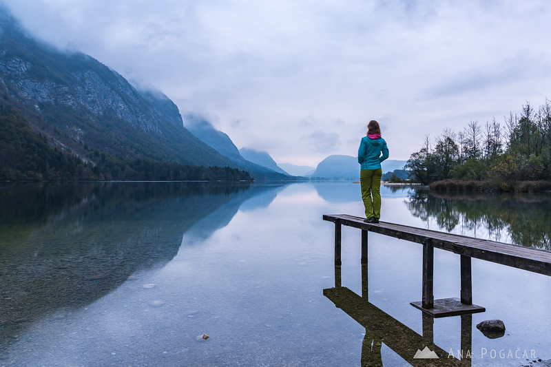 Ana and Lake Bohinj from Ukanc on a cloudy morning