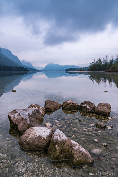 Lake Bohinj from Ukanc on a cloudy morning