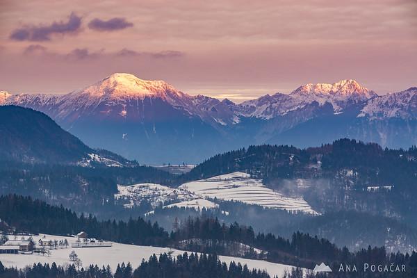 The Karavanke range at sunrise