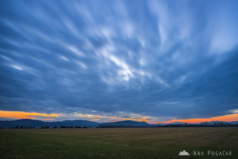 Cloudy sunset near Kamnik - Dec 3, 2016