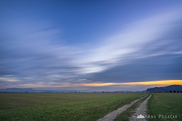Fast moving clouds over Mengeš fields