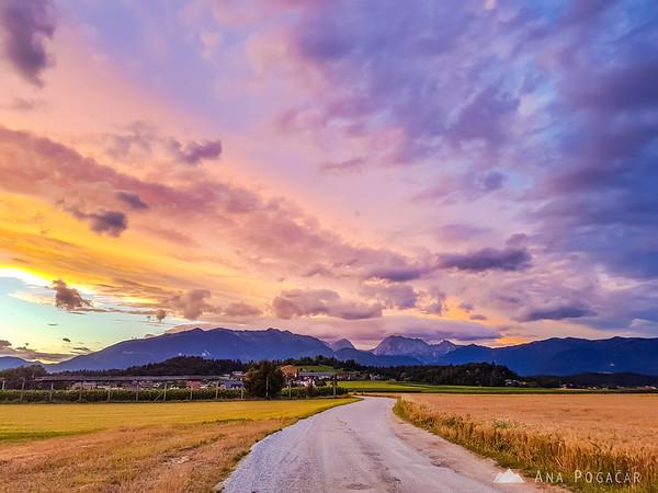 Phone photo of a fiery sunset taken near Križ village
