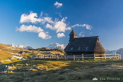 Velika planina chapel in the morning light