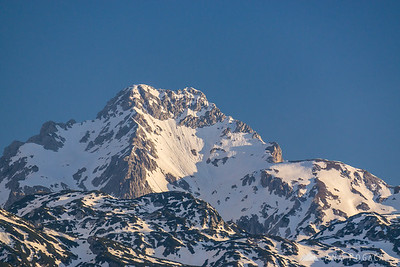 Mt. Ojstrica from Velika planina in the morning light