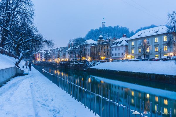 Ljubljanica river and Ljubljana Castle