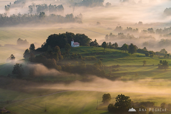 Morning mists enveloping the St. Lovrenc church at Ljubljana Marshes
