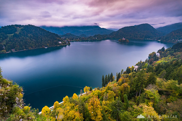 Stormy clouds above Lake Bled at sunset