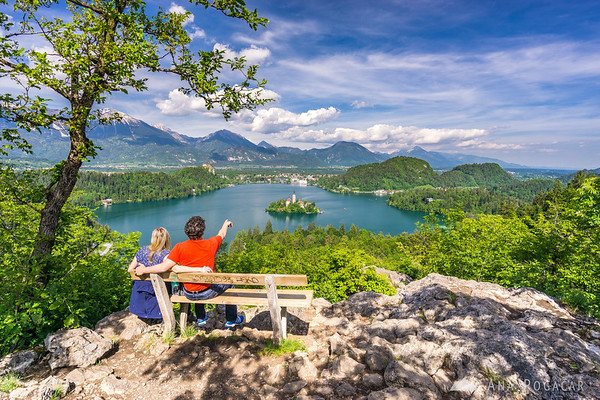 View over Lake Bled from Ojstrica hill