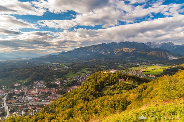 Kamnik, Stari grad, Mekinje and the Kamnik Alps from Špica hill above Kamnik