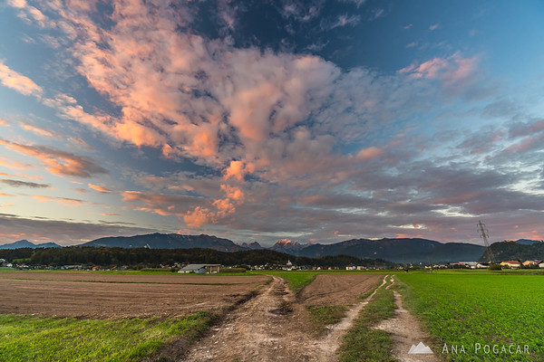 Sunset clouds above the Kamnik Alps at sunset