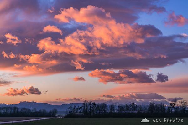 Fiery sunset clouds