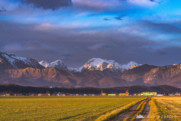 The Kamnik Alps in the golden late-afternoon light
