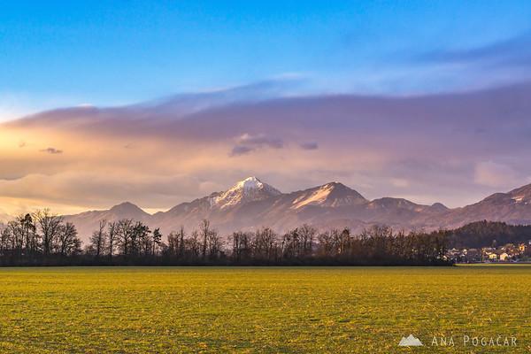 Mt. Storžič in the golden late-afternoon light