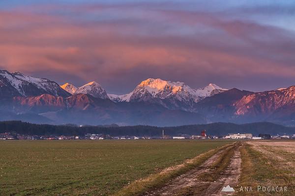 The Kamnik Alps at sunset