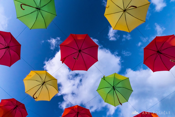 Colorful umbrellas in Kamnik