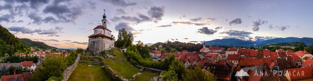 Panorama of Mali grad and Kamnik after sunset