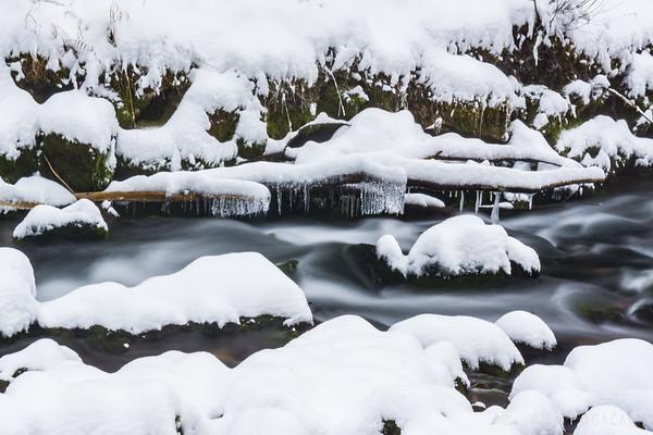 Snowy source of the Kamniška Bistrica River