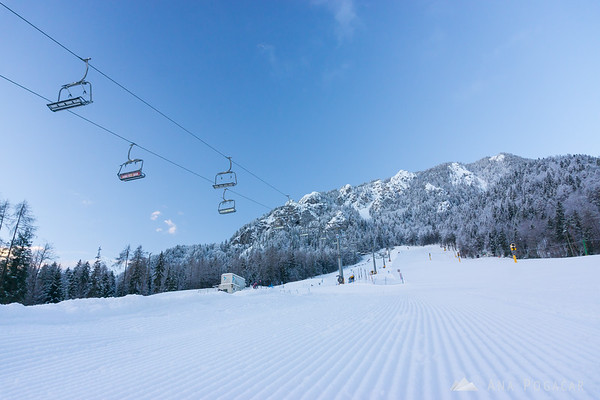 Ski slopes in Kranjska Gora after sunrise