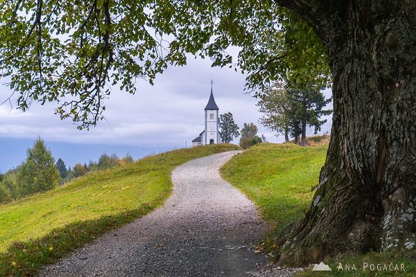 Church in Jamnik on a cloudy day