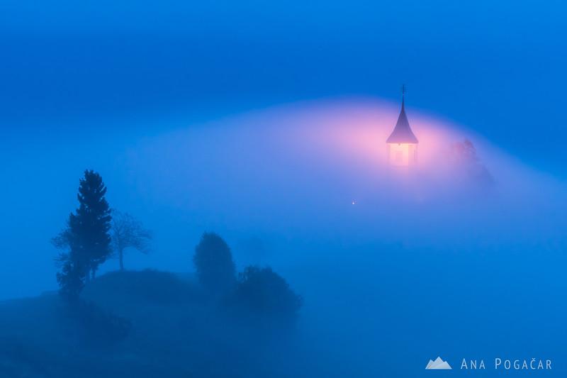 Kropa and foggy Jamnik - Oct 13, 2016