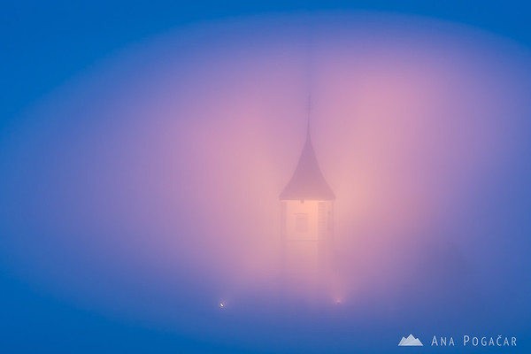 Church in Jamnik during magical foggy blue hour