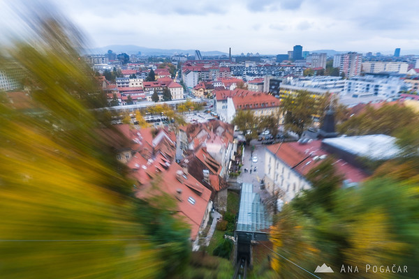 Riding the funicular up to the Ljubljana Castle