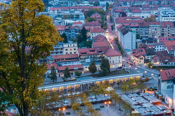 Views from the Ljubljana Castle at dusk
