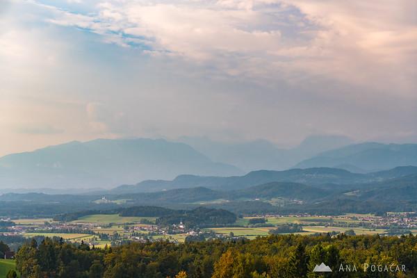 Views towards the Kamnik Alps from Sv. Trojica